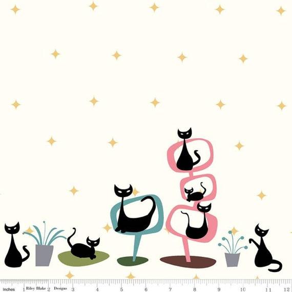 Mod Meow Border Print Cream, C10286-CREAM, By Amanda Niederhauser for Riley Blake Designs, sold by the yard