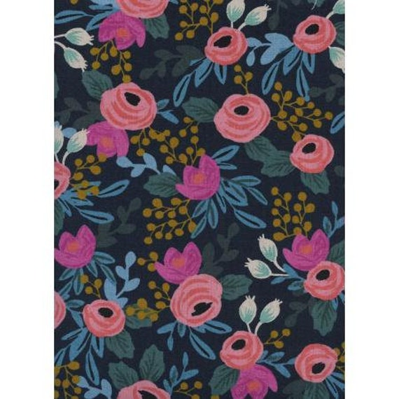 Menagerie - Rosa - Navy CANVAS Fabric- AB8012-022 - Rifle Paper Co-Cotton and Steel/RJR- sold by the 1/2 yard or the yard