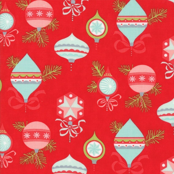 Flannel Moda Fabric, Vintage Holiday designed by Bonnie and Camille Flannel Seasonal Christmas Texture Ornaments Red, sold by the 1/2 yard