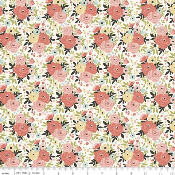 Joy In The Journey, Floral Cream, C10681-Cream, By Dani Mogstad, for Riley Blake, sold by the 1/2 yard or the yard