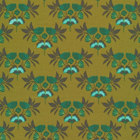 Emerald Stems,  Forest Jewels, By Kate Merritt for Cloud9 Fabric, Organic Quilting Cotton, Sold by the 1/2 yard or the yard