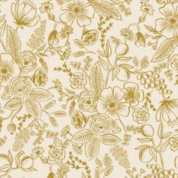 Holiday Classics,  Colette, Cream Metallic Fabric, RP6010-CR4M, By Rifle Paper Co, for Cotton and Steel, sold by the 1/2 yard or the yard