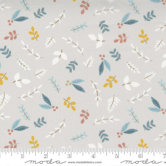 Little Ducklings, Leaves in Warm Grey, 25102 14 Moda, By Paper And Cloth, Sold by the 1/2 yard or the yard