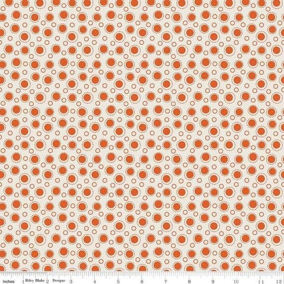 SALE - Lemonade Sundae Spot Cream Orange C7533-CREAM Cream by Leonie Bateman Penny Rose Fabrics, sold by the 1/2 yard