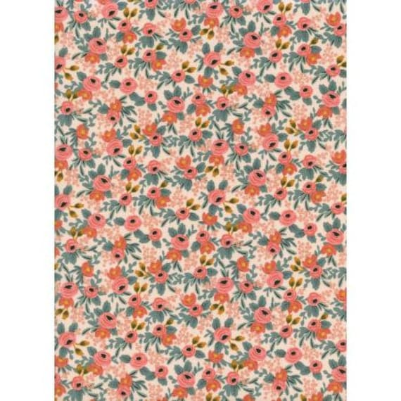 AB8004-001 Les Fleurs - Rosa - Peach Fabric- Rifle Paper Co- Cotton and Steel/RJR- Sold by the 1/2 yard or the yard