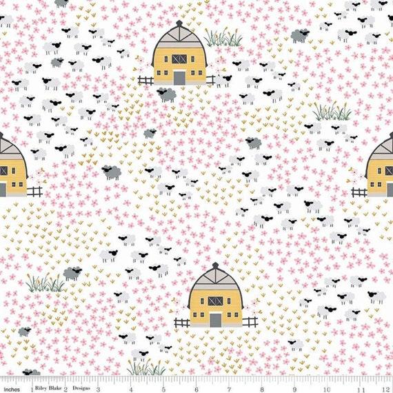 Fox Farm Fields, Cream Sparkle By Melissa Mortenson for Riley Blake, sold by the 1/2 yard