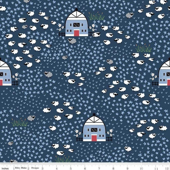 Fox Farm Field Navy Fabric By Melissa Mortenson For Riley Blake Designs, sold by the 1/2 yard