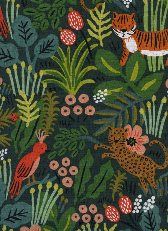 Menagerie - Jungle - Hunter CANVAS Fabric- AB8041-012- Rifle Paper Co.- Cotton and Steel- sold by the 1/2 yard or the yard