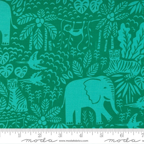Jungle Paradise Monstera, 20785 21 Moda, Jungle Fun Novelty Animals Tigers Monkeys Birds Leopards, By Stacy Iest Hsu,
