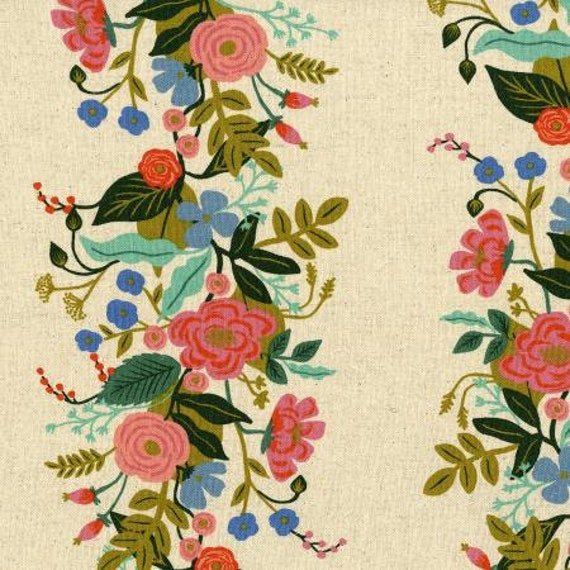 AB8067-012 English Garden - Floral Vines - Cream CANVAS Fabric- Rifle Paper Co- Cotton and Steel-RJR- Sold by the 1/2 yard or the yard