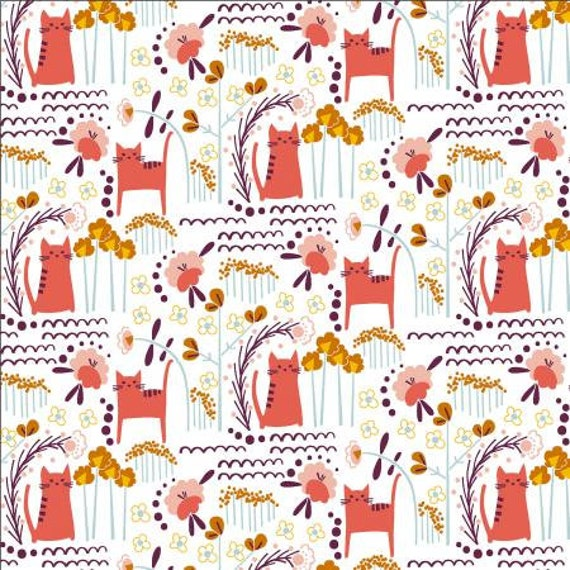 Glory - Elsies Cat - Sunrise Fabric- MC201-SU2- Cotton + Steel- Sold by the 1/2 yard or the yard