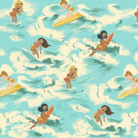 Heather Ross Blue Surf Girls, Malibu 52145-2, by Heather Ross from Windham, cotton fabric sold by the 1/2 yard or the yard