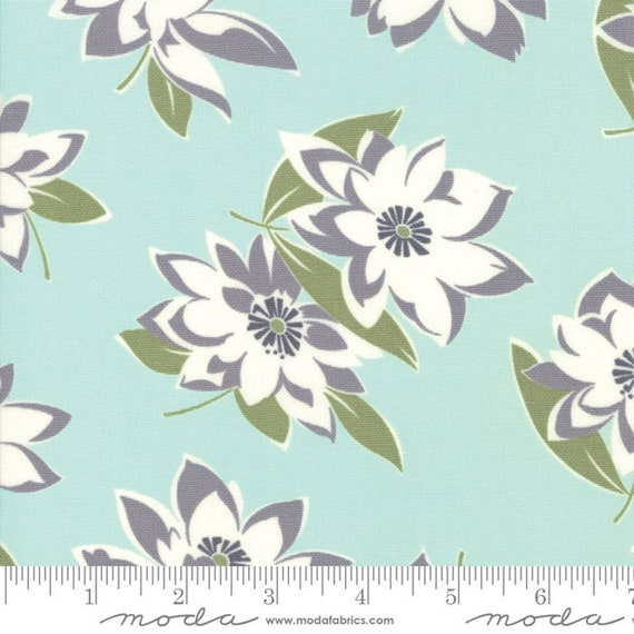 "At Home- Aqua Main Floral CANVAS- Bonnie & Camille- Lite Canvas- 58"" wide - Moda Fabrics - Thimbleblossoms, sold by the 1/2 yard or the yard"