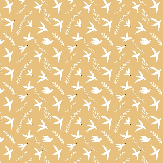 Pond Life-Birds in Flight-Dijon Fabric- By Indico Designs for RJR- Sold by the 1/2 yard or the yard