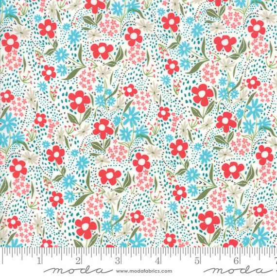 Farm Charm Multi- flowers, By Gingiber for Moda Fabric, sold by the 1/2 Yard - Cut Continuously