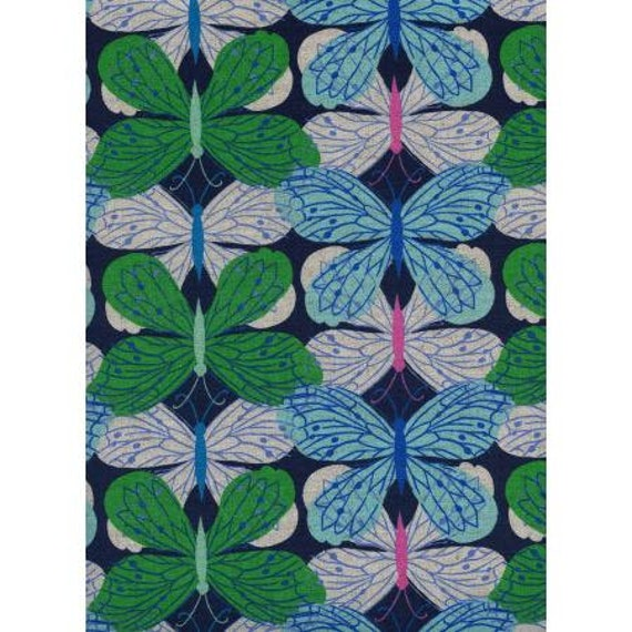 C6008-012 Beauty Shop - Butterfly - Navy CANVAS Fabric- Cotton and Steel/RJR- Sold by the 1/2 yard or the yard