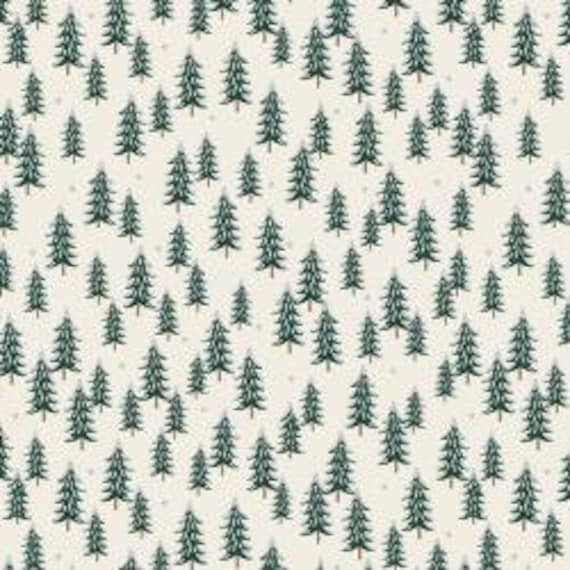 Holiday Classics,  Fir Trees, Silver Metallic Fabric, RP604-SI3M, By Rifle Paper Co, for Cotton and Steel, sold by the 1/2 yard or the yard