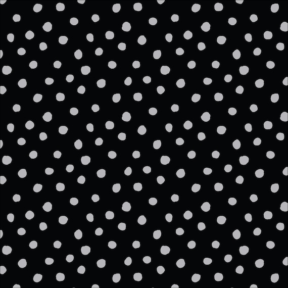 Cloud9, Organic Interlock Stretch Knit, Dots Black/Gray, by Jessica Jone, sold by the 1/2 yard or the yard