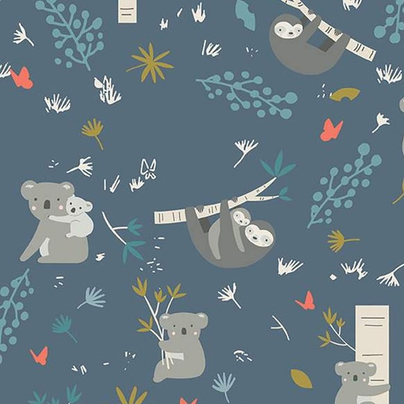 Flannel 'Joey Main Navy' Wonderful Koalas, Sloths with Babies and Foliage, sold by the 1/2 yard – cut continuously