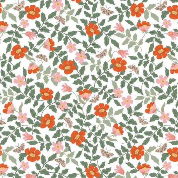 Strawberry Fields - Primrose - Ivory Fabric- RP402-IV2- Rifle Paper Co- Cotton and Steel/RJR- Sold by the 1/2 yard or the yard