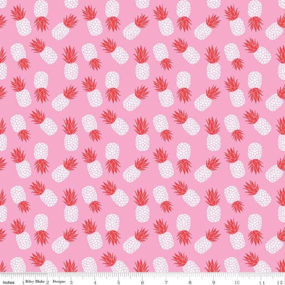 Havana Pineapple, Pink KNIT, By Patty Young for Riley Blake Fabrics K7021 Cotton Spandex