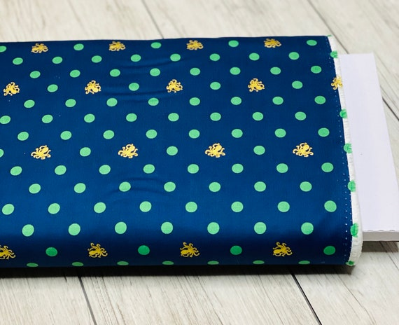 Ahoy! Mermaids Octo Dots-Navy,  C10343-NAVY by Melissa Mortenson for Riley Blake Designs, Sold by the 1/2 yard or the yard