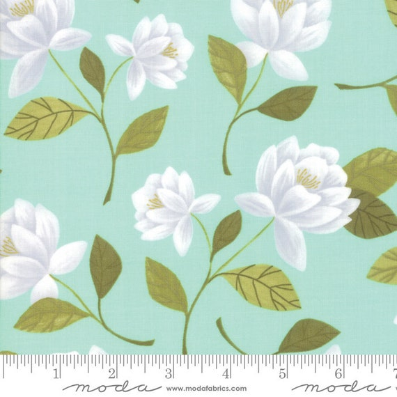 Goldenrod Raleigh Floral Aqua, By One Canoe Two, 36050 13 Moda, Sold by the 1/2 yard or the yard