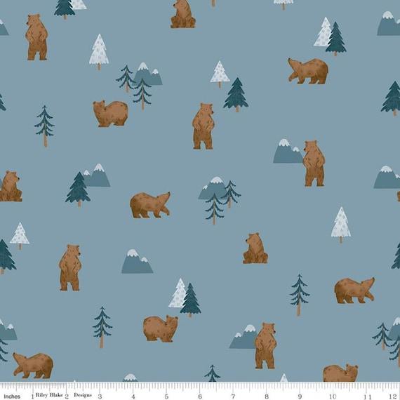 Camp Woodland Grizzly Bears Denim, C10461-Denim, Natàlia Juan Abelló, Riley Blake Designs, Sold by the 1/2 yard or the yard