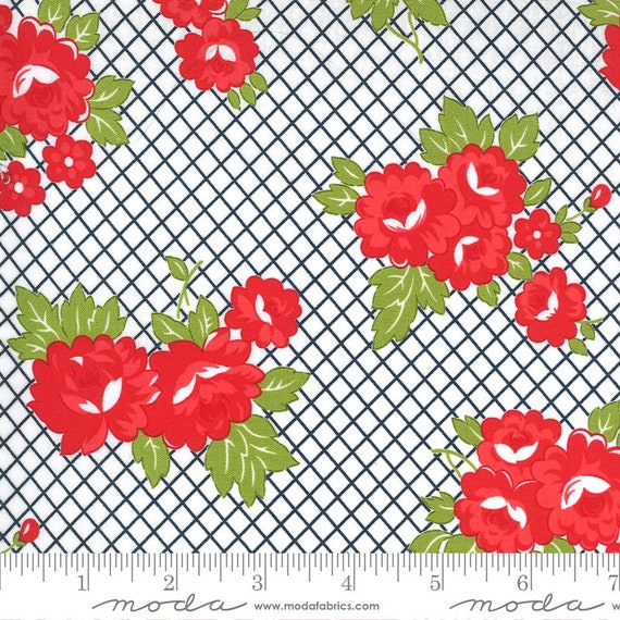 Sunday Stroll White/Navy, 55221 15 Moda, By Bonnie and Camille, for Moda, Sold by the 1/2 yard or the yard