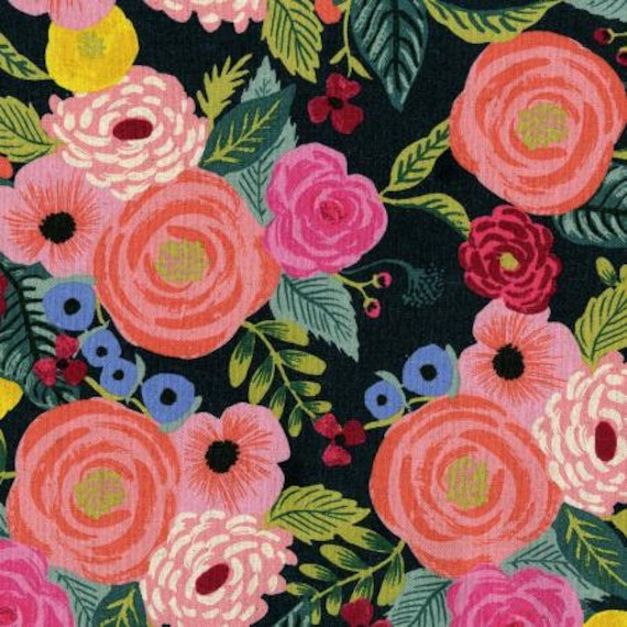 English Garden by Rifle Paper Co. Juliet Rose floral on Navy CANVAS fabric, sold by the 1/2 yard or the yard– cut continuously