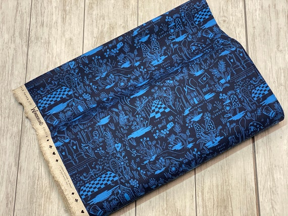 Wonderland - Magic Forest - Navy CANVAS Fabric-Rifle Paper Co- AB8027-022- Cotton + Steel/ RJR- Sold by the 1/2 yard or the yard