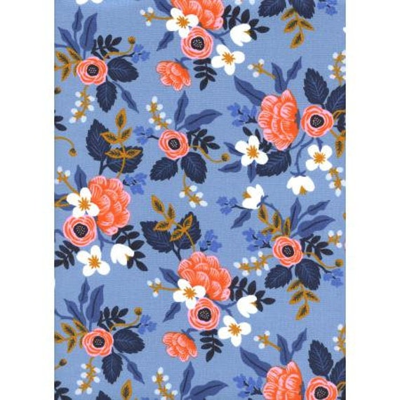 AB8003-001 Les Fleurs - Birch - Periwinkle Fabric- Rifle Paper Co.- Cotton and Steel/RJR- sold by the half yard or the yard