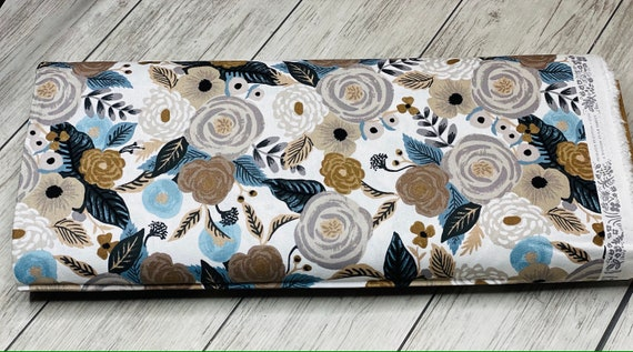 Garden Party - Juliet Rose - Linen Multi CANVAS Fabric-RP520-LM2C- Rifle Paper Co-Cotton and Steel/RJR- Sold by the 1/2 yard or the yard