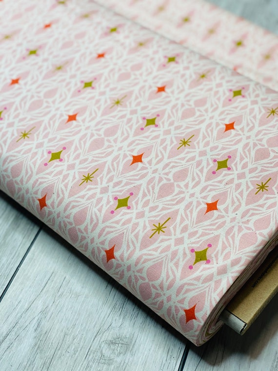 Freshly Picked - Lace - Pink Unbleached Cotton Fabric- M0065-001- Melody Miller- Cotton and Steel- Sold by the 1/2 yard or the yard