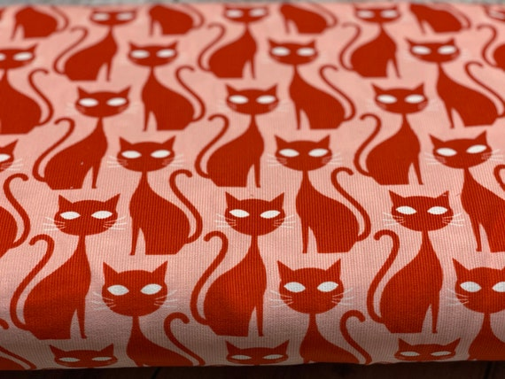 Could9, Organic CORDUROY, A Walk to Remember-Orange Tabby Cat, Sold by the 1/2 yard or the yard