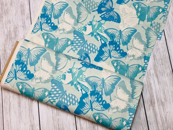M0058-001 Flutter - Flutter - Aqua Unbleached Cotton Fabric- Cotton and Steel- RJR-  Sold by the half-yard cut continuous