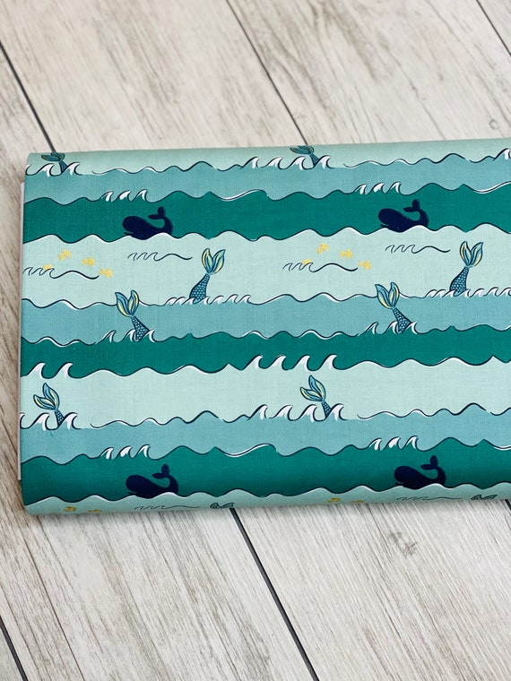 Ahoy! Mermaids Oceans Seafoam,  C10344-SEAFOAM by Melissa Mortenson for Riley Blake Designs, Sold by the 1/2 yard or the yard