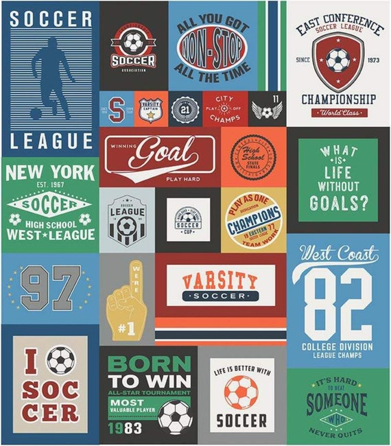 "Varsity Soccer Panel by Deena Rutter For Riley Blake Designs- P7953 Blue- Panel Size 56"" x 64"""