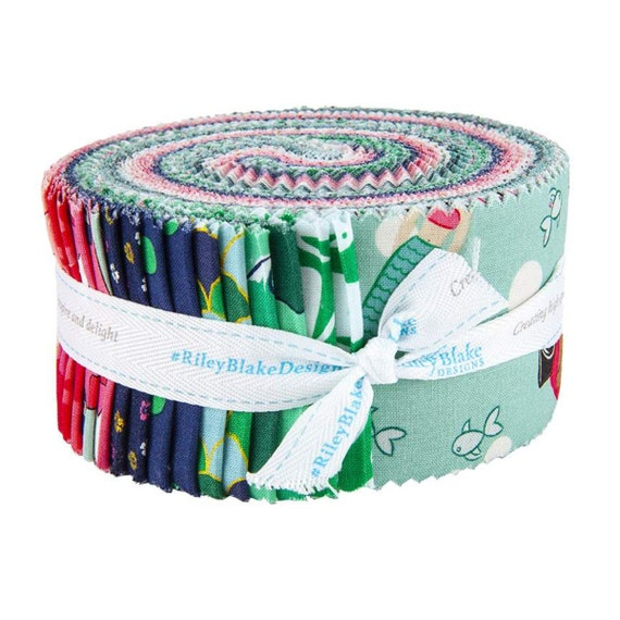 "Ahoy! Mermaids collection by Melissa Mortenson for Riley Blake, 2 1/2"" Rolie Polie precut bundle includes 40 pieces"