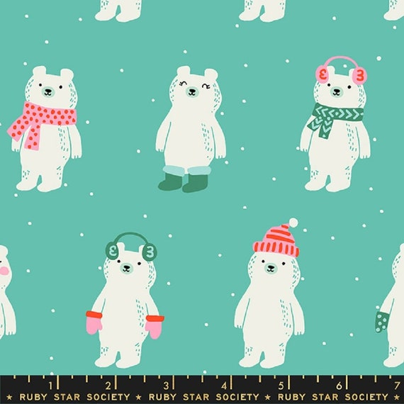 Flurry Snow Bears Icebox, RS5028 11, Ruby Star, sold by the 1/2 yard or the yard