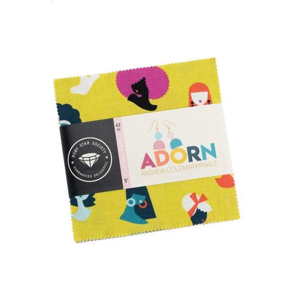 Adorn Charm Pack, RS1018PP, Ruby Star Precut, By Rashida Coleman Hale