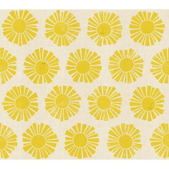 LV101-YE2U By the Seaside - Sunshine - Yellow Unbleached Fabric- Cotton and Steel- RJR-  Sold by the half-yard or the yard cut continuous