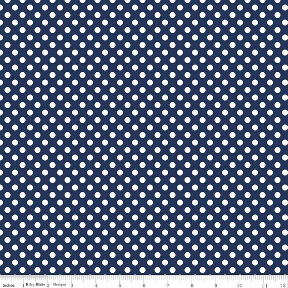 Small Dots-Navy- Riley Blake Basics-sold by the 1/2 yard or the yard