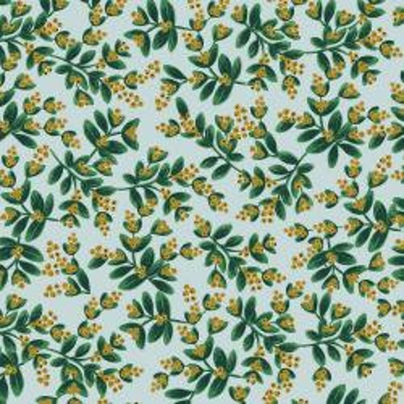Holiday Classics,  Mistletoe, Mint Metallic Fabric, RP601-MI1M , By Rifle Paper Co, for Cotton and Steel, sold by the 1/2 yard or the yard