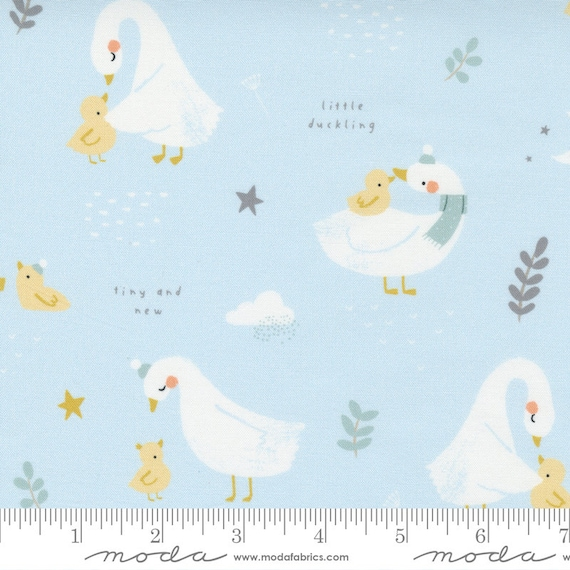 Little Ducklings Main in Blue, 25100 15 Moda, By Paper And Cloth, Sold by the 1/2 yard or the yard