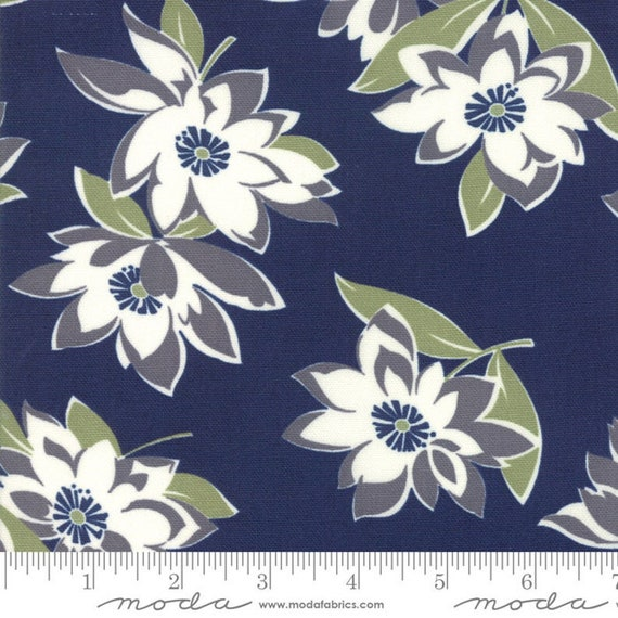"At Home- Navy Main Floral CANVAS- Bonnie & Camille- Lite Canvas- 58"" wide - Moda Fabrics - Thimbleblossoms, sold by the 1/2 yard or the yard"