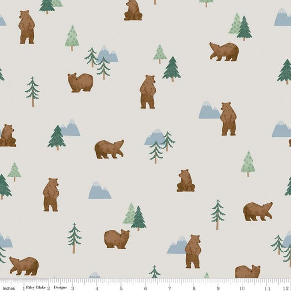 Camp Woodland Grizzly Bears offwhite , C10461-Offwhite, Natàlia Juan Abelló, Riley Blake Designs, Sold by the 1/2 yard or the yard