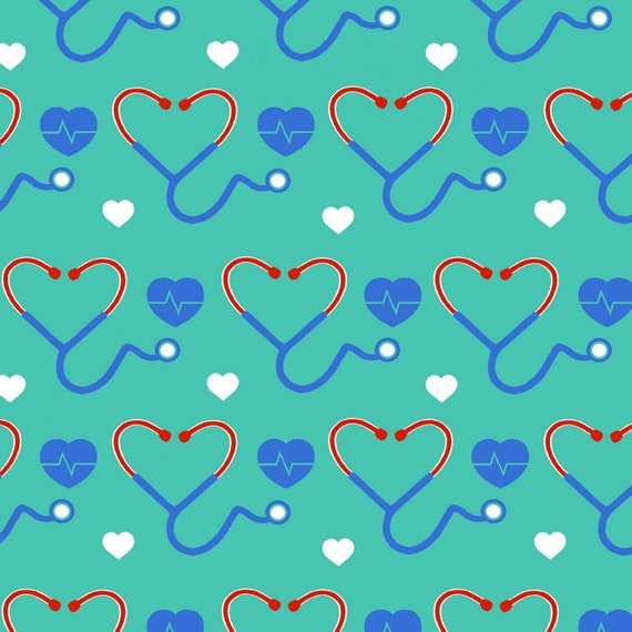 Tribute collection by Fabric traditions, Nurse, Stethoscope, heartbeat fabric, thank you nurses, sold by the 1/2 yard or the yard