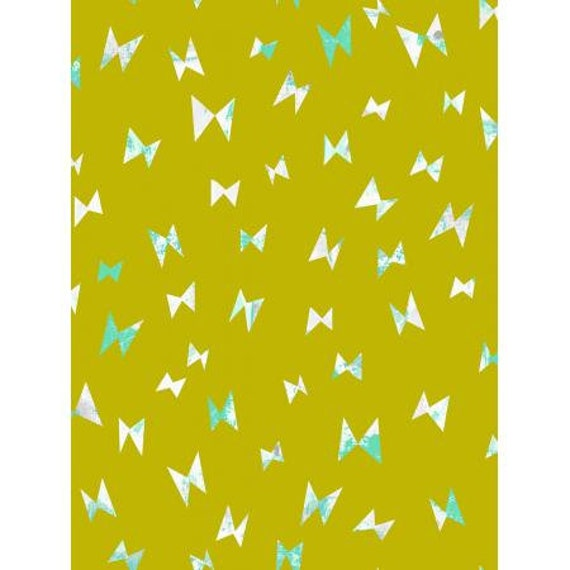 OE104-CI1 Once Upon a Time - Flying Ribbon - Citron Fabric- Cotton and Steel- RJR- Sold by the 1/2 yard or the yard