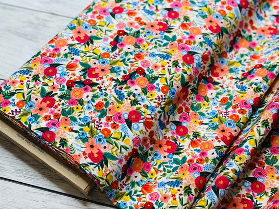 Wildwood - Petite Garden Party - Pink Rayon Fabric- RP104-PI3R- Rifle Paper Co- Cotton and Steel- sold by the 1/2 yard or the yard